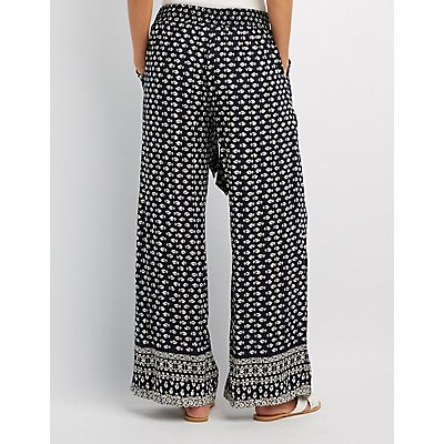 Printed Tie-Front Palazzo Pants
