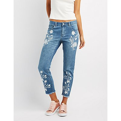 Refuge Embroidered Straight Leg Jeans