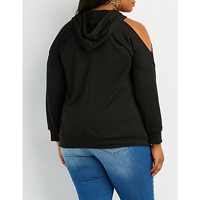 Plus Size Floral Embroidered Cold Shoulder Hoodie