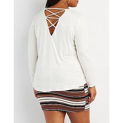 Plus Size Lattice-Back Top