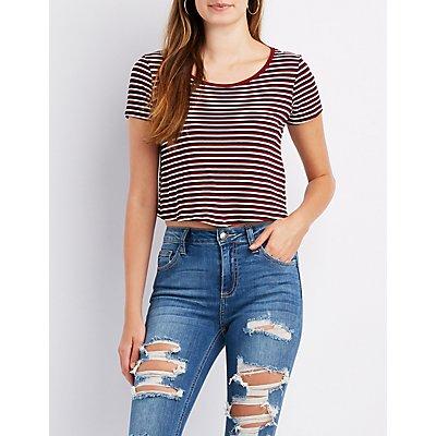 Striped & Ribbed Scoop Neck Crop Top