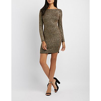 Glitter Backless Bodycon Dress