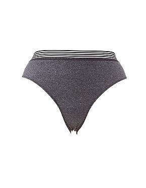Plus Size Mesh-Trim Lace-Back Cheeky Panties