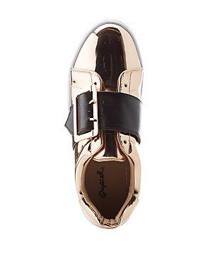Qupid Metallic Buckled Sneakers