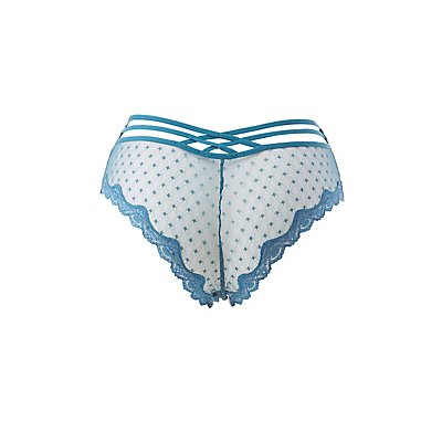 Plus Size Lace-Trim Cage-Back Cheeky Panties