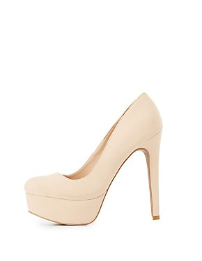 Faux Suede Platform Pumps