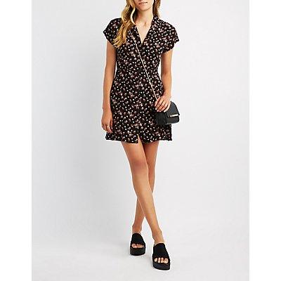 Floral Button-Up Shirt Dress