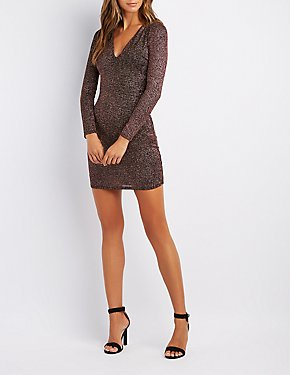 Glitter V-Neck Bodycon Dress