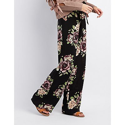Floral Tie-Front Palazzo Pants