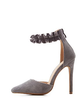 Ruffle-Trim D'Orsay Pumps