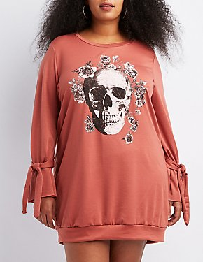 Plus Size Skull Graphic Bell Tie-Sleeve Sweatshirt Dress