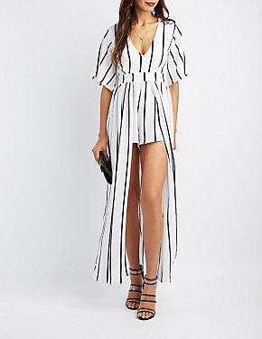 Striped Kimono Sleeve Maxi Romper