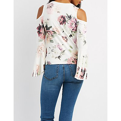 Floral Bell Sleeve Cold Shoulder Top