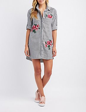 Embroidered Gingham Button-Up Shirtdress