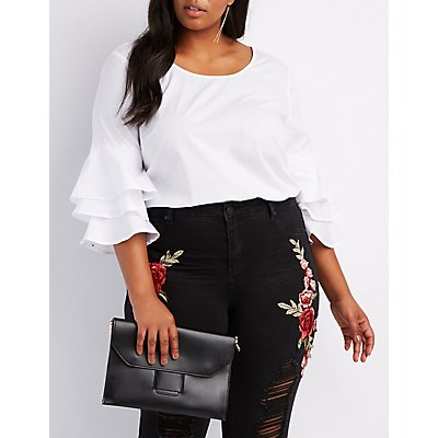 Plus Size Ruffle-Trim Bell Sleeve Top