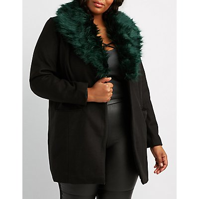 Plus Size Faux Fur-Trim Longline Coat