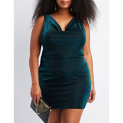 Plus Size Shimmer Knit Cowl Neck Bodycon Dress