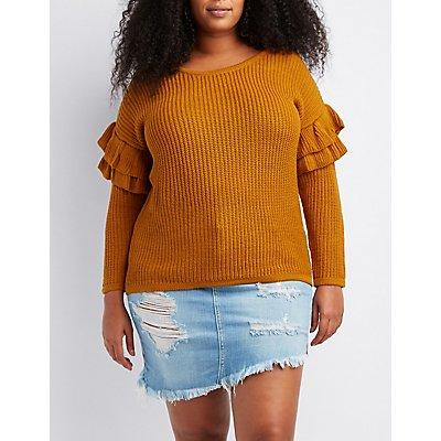 Plus Size Shaker Stitch Ruffle-Trim Sweater