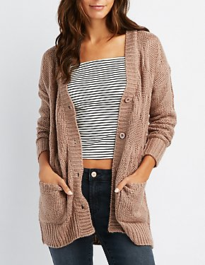 Shaker Stitch Button-Up Cardigan