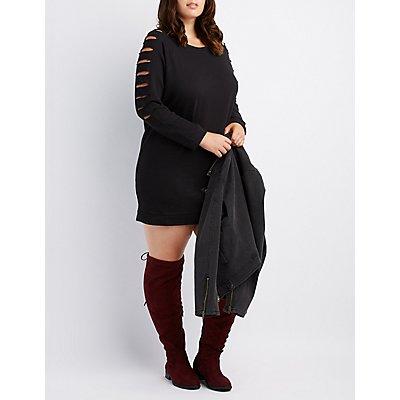 Plus Size Slashed Sweatshirt Dress