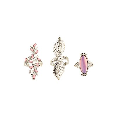 Embellished Cocktail Rings - 3 Pack