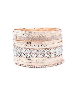 Etched Metal & Embellished Bangle Bracelets - 9 Pack