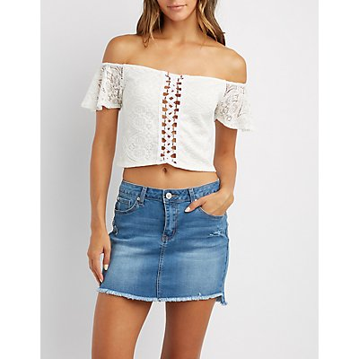 Lace Off-The-Shoulder Lace-Up Top