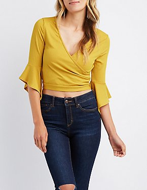 Ribbed Bell Sleeve Wrap Top