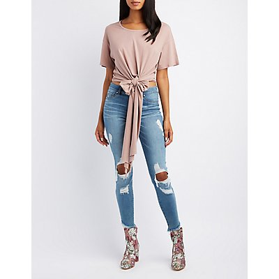 Wrap-Tie Cropped Tee