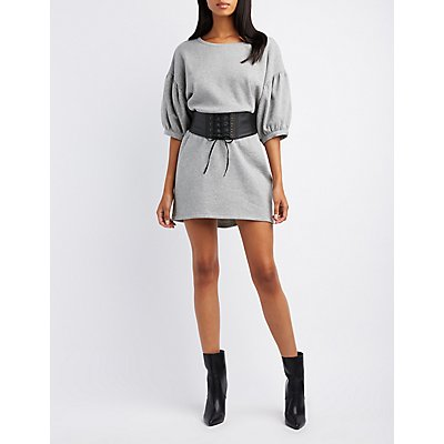 Balloon Sleeve Sweatshirt Dress
