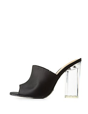 Bamboo Satin Clear Heel Mules