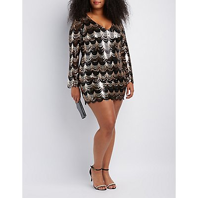 Plus Size Scalloped Sequins Bodycon Dress