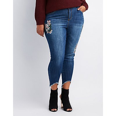 Plus Size Floral Patch Skinny Jeans