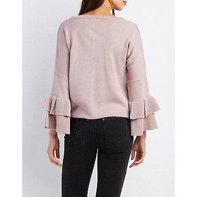 Tiered Ruffle Bell Sleeve Sweater