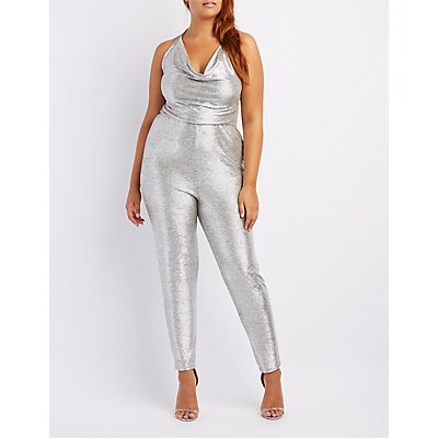 Plus Size Metallic Halter Cowl Neck Jumpsuit