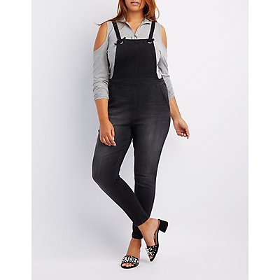 Plus Size Knotted Denim Overalls