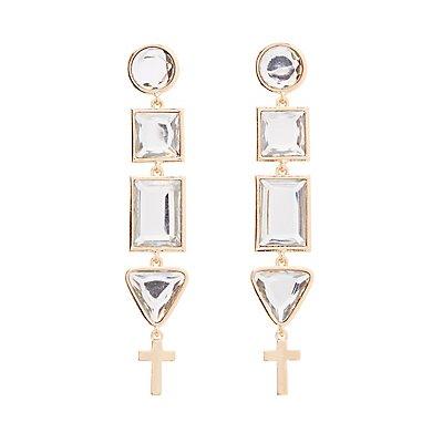 Embellished Geometric Drop Earrings