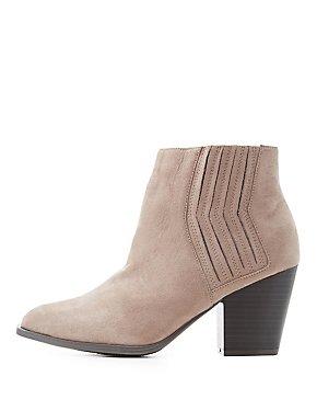 Gored Block Heel Ankle Booties