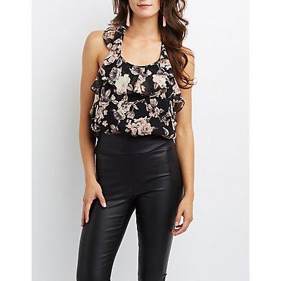 Floral Ruffle Open-Back Bodysuit