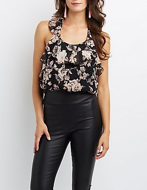 Floral Ruffle Open-Back Bodysuit