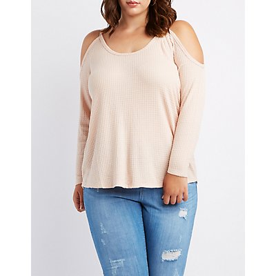 Plus Size Cold Shoulder Waffle Pullover