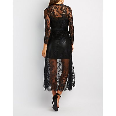 Eyelash Lace Tie-Front Duster