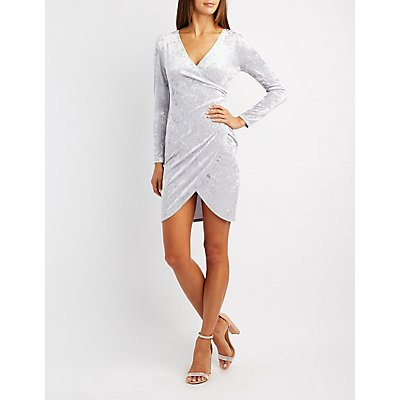 Velvet Surplice Bodycon Dress