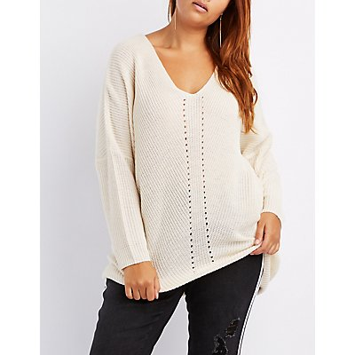 Plus Size Pointelle V-Neck Pullover Sweater