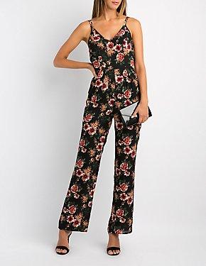 Floral Lace-Up Back Jumpsuit