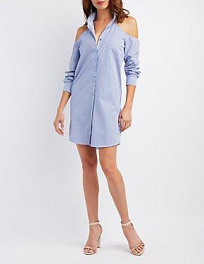 Button-Up Cold Shoulder Shift Dress