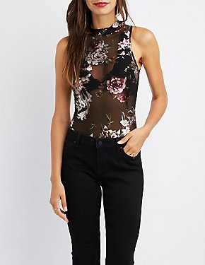 Floral Mesh Mock Neck Bodysuit