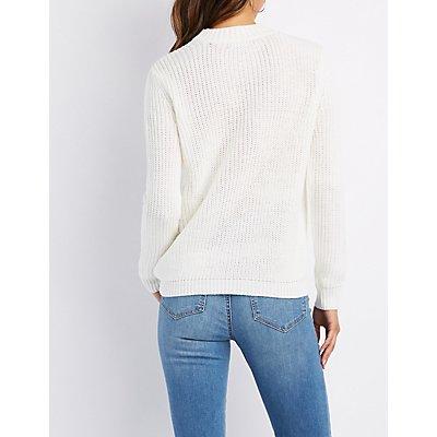 Choker Neck Distressed Sweater