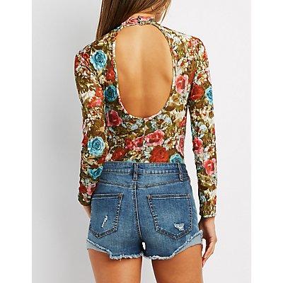 Flocked Floral Mock Neck Bodysuit