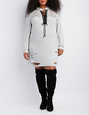 Plus Size Destroyed Lace-Up Hooded Sweatshirt